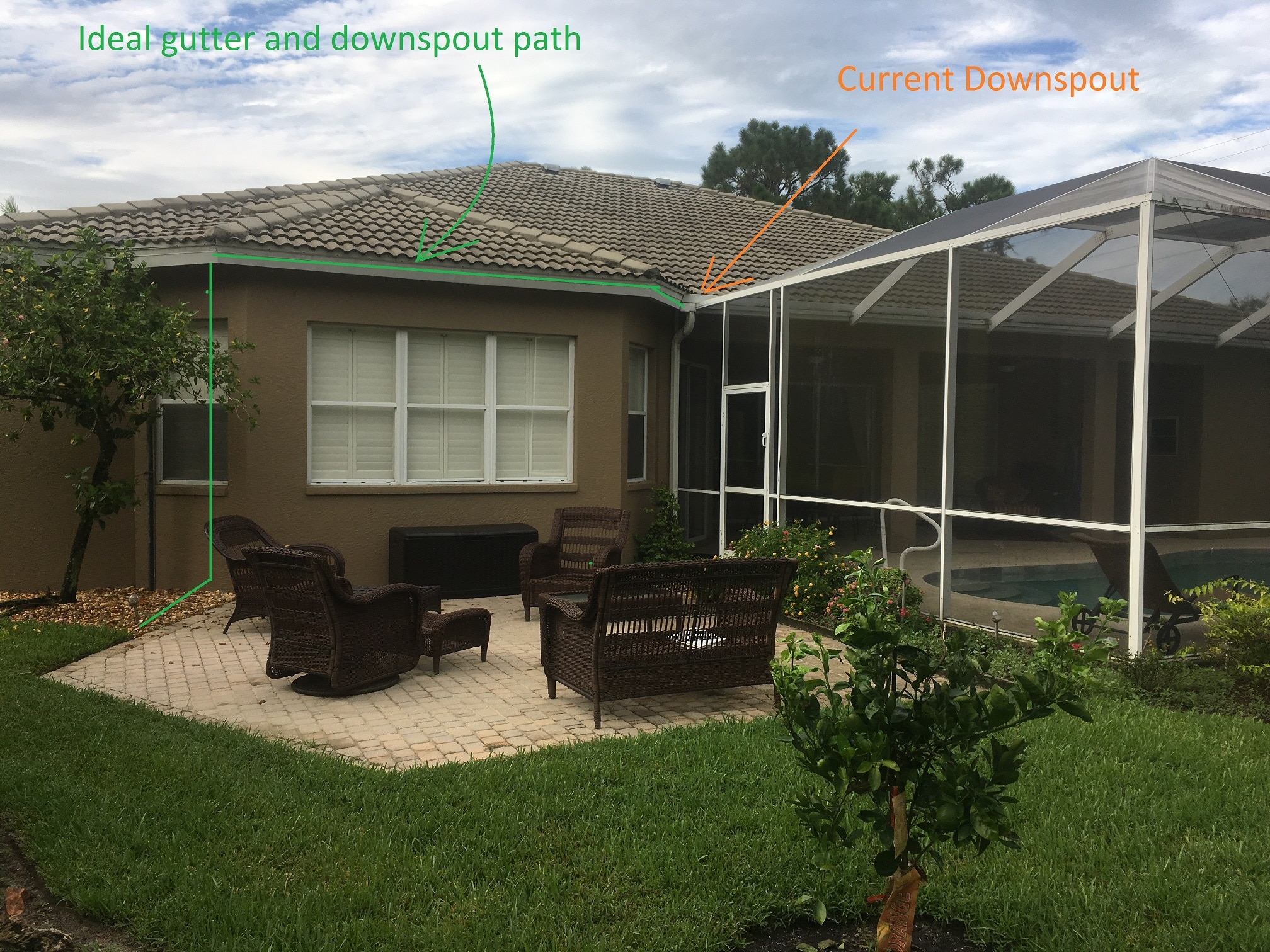 Often Overlooked Gutter & Downspout Placement On Pool Enclosure